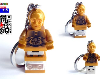 16GB USB Drive in Lego® Minifigure Keychain Golden Droid handmade