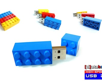 8GB to 64GB USB 2.0 Flash Drive in a original Lego® 2x4 Brick 7 available colours