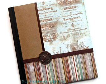 Blue Brown Clock Stripes Baby Book 8.5 x11