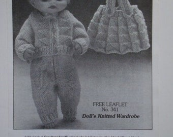 Doll's Knitted Wardrobe Pattern No. 341 by Beehive Patons for 13, 15 and 17 inch Toy Dolls Dolly Skirt Sweater Jumper Cardigan Slacks Pants
