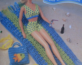 Towel, Floppy Hat and Tote Bag Crochet Pattern -A Day at The Beach- for 11 1/2 inch Fashion Dolls like Barbie