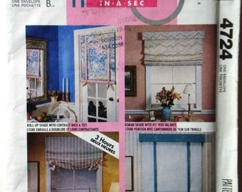 McCalls 4724 Home Dec-in-a-Sec Pattern. Roll-Up Shades and Roman Shades. Uncut