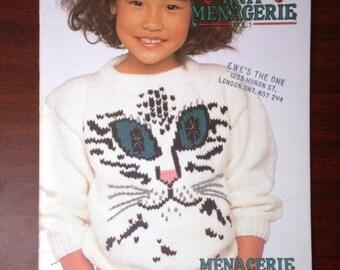 Knit Menagerie Vol.1 Patons No.495 Cat, Dinosaur, Bunny Rabbit, Scottie Dogs, Teddy Bears, Horse, Sheep