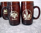 Vintage 70's Beer Mugs, 1776-1976, Beer Steins, Amber Mugs, Patriotic, All American Bicentennial ,Washington, Paul Revere, Set of 4