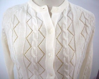 Vintage 70's Ribbed Sweater - Off White- Size Small, Medium, Button Down, Cardigan, Retro Sweater