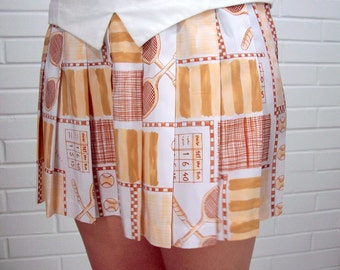 Vintage 70's Tennis Skirt with Matching Top, Size Medium