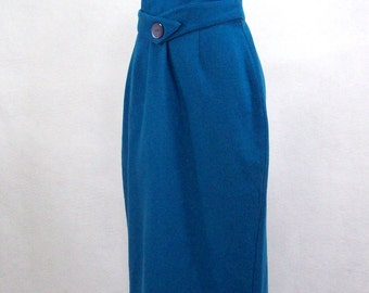 Half Off! Vintage 70's Sapphire Blue Wool Skirt, Faux Half Belt with Huge Center Button, Union Made, Long Back Slit, Wide Waistband, S/M