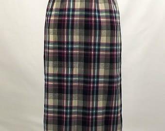 ON SALE - Vintage 50's Skirt, Pendleton, School Girl Plaid, Size 12, Black, Teal, Violet