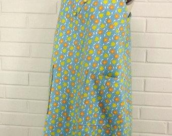 Vintage 70's Sun Dress, Patch Pockets, Square Neckline, Back Bow,  Medium/Large