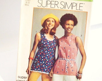 Vintage 70's Sewing Pattern, Super Simple Tops, Sleeveless Tops Tunic, Retro Pattern, Summer Tops,  Misses Small