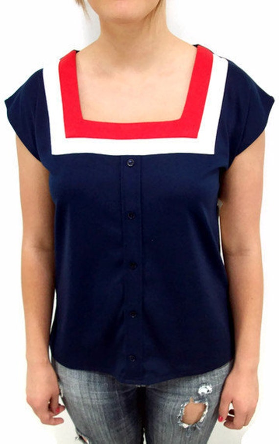 Vintage 70's Shirt , Size Small, Square Neckline, Red, White and Blue, Summer Top, Nautical Sailor Gal