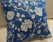 "CoTTage ShaBBy CHiC PiLLoW/FrenCH BLuE CHiNtZ 18""/Beach Pillow/Bedroom Pillow/Cotton Pillow/Decorative Throw Pillow"