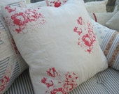 "Cottage Shabby Chic Linen 20"" DOWN Pillow French ReD CaBBage Roses"