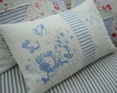 BluE Cabbage RoSeS Linen Pillow/12x16 DOWN/French Ticking/ShaBBy Chic CoTTaGe/Flowers/Baby Nursery/Childs Bedroom/Lumbar Pillow/Throw Pillow