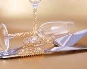 Cake Cutting Set And Champagne Toast Flutes Beaded Swarovski Pearls, Crystal Glass WEDDING TABLE SETTING Unique Decor