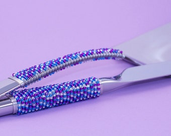 Wedding Cake Knife And Server Set Hand Beaded In Aqua, Purple And Silver By Beadz2Pleaz  Cake Cutting In Style