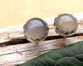 Gray Moonstone Earrings: Sterling Silver Gemstone Stud Earrings, 6mm - Free Gift Wrapping