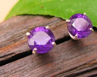 Amethyst Earrings in Gold, Silver, Platinum with Genuine Gems, 6mm - Free Gift Wrapping