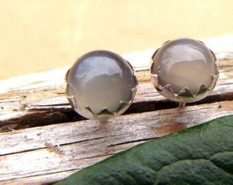 Gray Moonstone Earrings: Sterling Silver Gemstone Stud Earrings, 6mm - Free Gift Wrapping