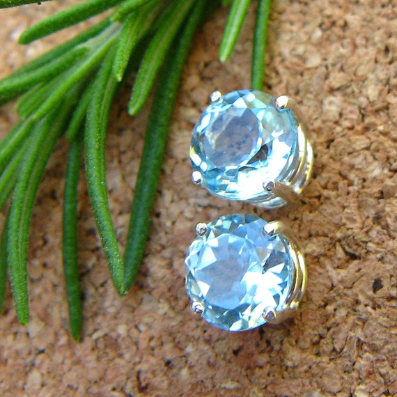 Sky Blue Topaz Earrings in Gold, Silver, Platinum, or Palladium with Genuine Gems, 8mm - Free Gift Wrapping