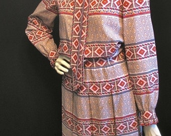 80s Escada Ethnic Print Blouse Skirt Outfit M ML