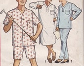Vintage Sewing Pattern Mens Pajama and Night Shirt Simplicity 5039 Size Medium 1950's