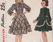 Simplicity 2650 Girl's One Piece Party Dress Vintage Sewing Pattern 26 Bust Uncut - Free Pattern Grading E-book Included