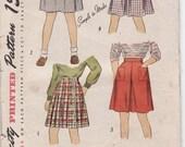 Simplicity 1732 Vintage Girl's Skirt Sewing Pattern 22 1/2 Waist