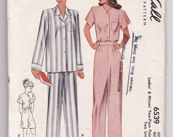 """Vintage Sewing Pattern Ladies 1940's Pajama Set McCall 6539 34"""" Bust - Free Pattern Grading E-book Included"""