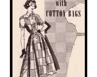 Vintage Sewing Pattern Booklet 1950's Smart Sewing with Cotton Bags Ebook Digital PDF -INSTANT DOWNLOAD-
