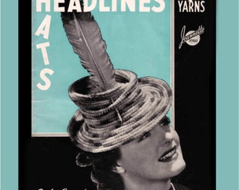 Vintage Crochet Pattern Booklet for 23 High Fashion Hats and Sweaters 1939 Digital Book PDF -INSTANT DOWNLOAD-