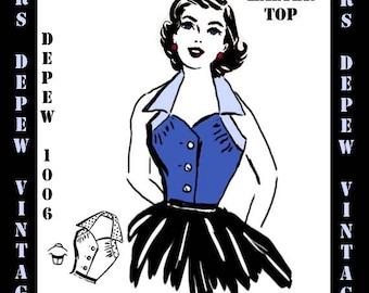 Vintage Sewing Pattern Ladies 1950's Halter Top Blouse PDF Printable Digital Pattern Depew 1006 -INSTANT DOWNLOAD-