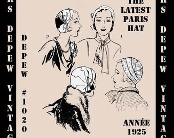 Vintage Sewing Pattern Reproduction 1920's Ladies' Cloche Paris Hat #1020 With Free Fashion Booklet -INSTANT DOWNLOAD-