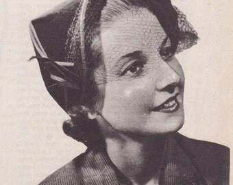 Vintage Sewing Pattern 1950's French Designer Hat Digital Pattern Diagram -INSTANT DOWNLOAD-