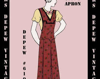 Vintage Sewing Pattern 1930's Ladies' Apron in Any Size- PLUS Size Included- Depew 6105 -INSTANT DOWNLOAD-