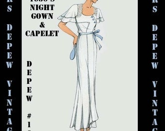 Vintage Sewing Pattern 1930's French Night Gown or  Slip in Any Size Depew 164- PLUS Size Included -INSTANT DOWNLOAD-
