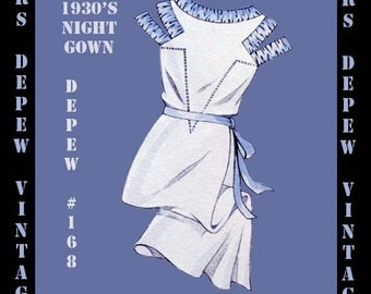 Vintage Sewing Pattern 1930's French Ladies' Night Gown in Any Size- PLUS Size Included- Depew 168 -INSTANT DOWNLOAD-