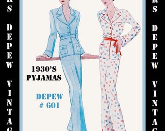 Vintage Sewing Pattern 1930's French Pajamas in Any Size- PLUS Size Included- Depew 601 -INSTANT DOWNLOAD-