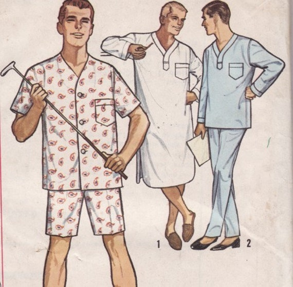 menswear vintage sewing pattern mens pajama and shirt