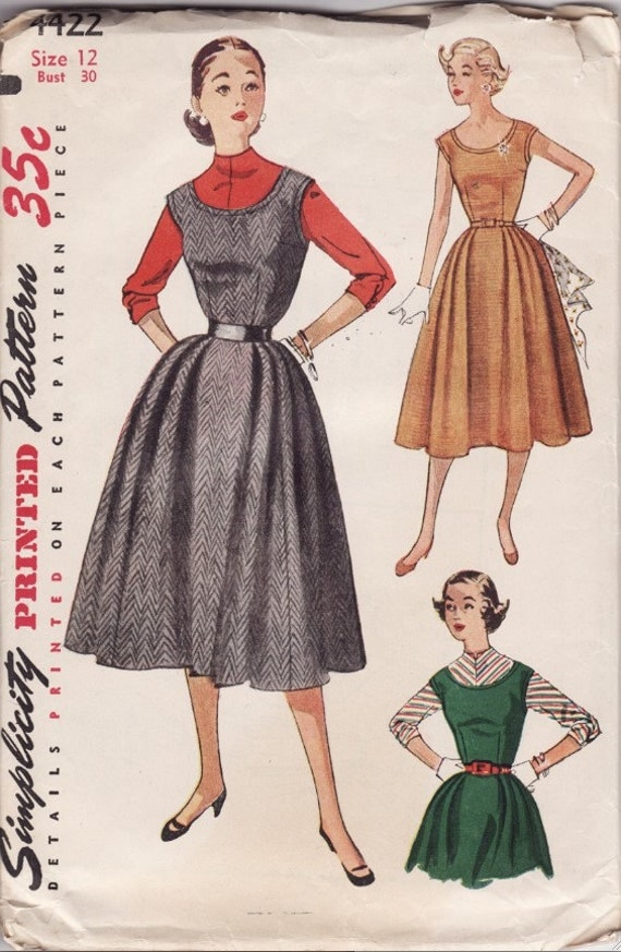 "RESERVED FOR SwellDame Vintage Sewing Pattern  Ladies Dress or Jumper Simplicity 4422 Small 30"" Bust"