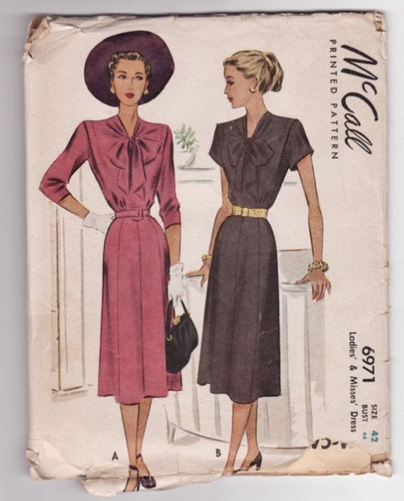 Vintage Sewig Pattern McCall's 6971 1940's Ladies' Bow Front Dress Size 44 Bust - Free Pattern Grading E-book Included