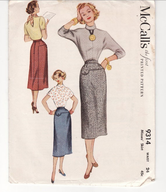 Vintage Sewing Pattern 1950's Wiggle Skirt Mccall's 9314 Waist 24