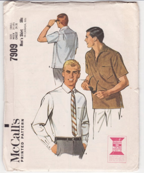 """Vintage Sewing Pattern Men's Shirt McCall's 7909 34- 36"""" Chest FF"""