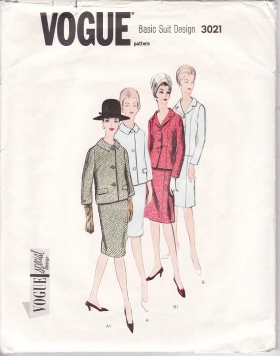 Vintage Sewing Pattern 1960's Basic Suit 34 Bust Vogue Special Design 3021