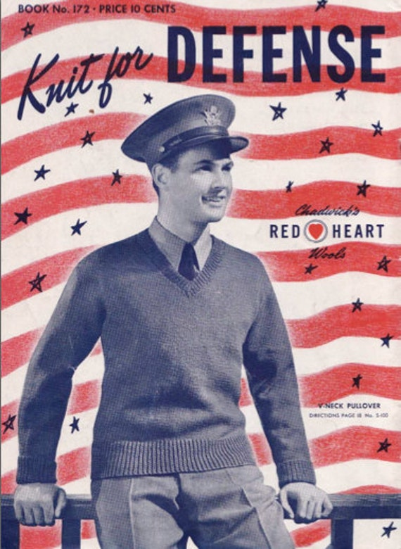 Men's Vintage Sweaters, Retro Jumpers 1920s to 1980s Menswear Vintage Knitting Pattern Booklet 1940s World War II Military Issue Pdf  Knit For Defense -INSTANT DOWNLOAD- $5.00 AT vintagedancer.com