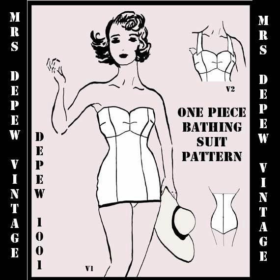 Vintage Style Sewing Pattern 1950's Inspired One Piece Bathing Suit Depew 1001 -INSTANT DOWNLOAD-