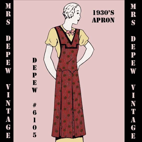 Vintage Aprons, Retro Aprons, Old Fashioned Aprons & Patterns 1930s Ladies Apron in Any Size- PLUS Size Included- Depew 6105 -INSTANT DOWNLOAD- $7.50 AT vintagedancer.com