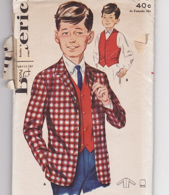 Butterick 2588 Boy's Jacket and Vest Vintage Sewing Pattern Chest 28
