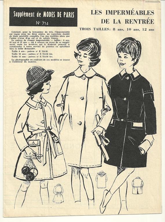 Vintage Sewing Pattern 1960's Girl's Coat French Modes de Paris  N. 714 Patron Ancien