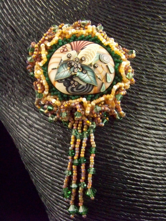 Items similar to bead embroidery klew cabachon brooch on etsy